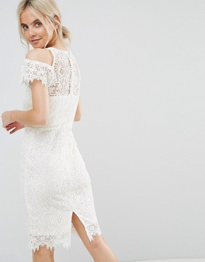photo Cold Shoulder Frill Lace Pencil Dress by Paper Dolls Petite, color Cream - Image 2