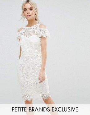 photo Cold Shoulder Frill Lace Pencil Dress by Paper Dolls Petite, color Cream - Image 1