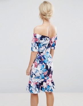 photo Floral Printed Bardot Pencil Dress with Frill Hem by Paper Dolls Petite, color Multi - Image 2