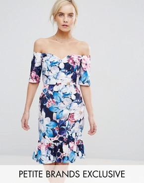 photo Floral Printed Bardot Pencil Dress with Frill Hem by Paper Dolls Petite, color Multi - Image 1