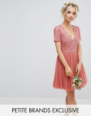 photo Plunge Neck Embellished Top Mini Dress with Tulle Skirt by Maya Petite, color Salmon - Image 1