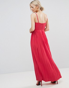 photo Lace Top Pleated Maxi Dress by Little Mistress Petite, color Cherry - Image 2