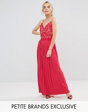 photo Lace Top Pleated Maxi Dress by Little Mistress Petite, color Cherry - Image 1