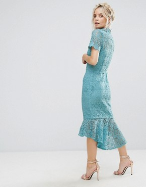 photo All Over Lace High Neck Pencil Dress with Frill Hem by Paper Dolls Petite, color Sage - Image 2