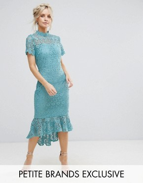photo All Over Lace High Neck Pencil Dress with Frill Hem by Paper Dolls Petite, color Sage - Image 1