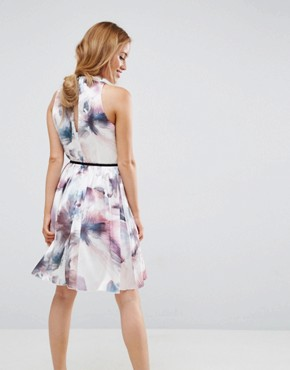 photo High Neck Allover Printed Prom Skater Dress by Little Mistress Petite, color Multi - Image 2