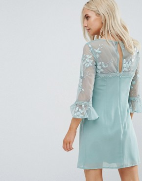 photo Allover Lace Top Shift Dress with Fluted Sleeve Detail by Little Mistress Petite, color Mint - Image 2