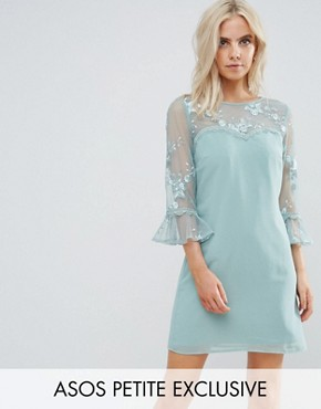 photo Allover Lace Top Shift Dress with Fluted Sleeve Detail by Little Mistress Petite, color Mint - Image 1