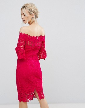 photo Bardot All Over Lace Pencil Dress by Paper Dolls Petite, color Fuchsia - Image 2