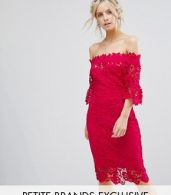 photo Bardot All Over Lace Pencil Dress by Paper Dolls Petite, color Fuchsia - Image 1