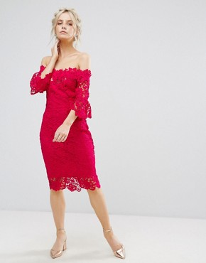 photo Bardot All Over Lace Pencil Dress by Paper Dolls Petite, color Fuchsia - Image 4