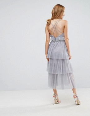 photo Tulle Ruffle Layered Midi Dress with Strappy Back Detail by True Decadence Petite Premium, color Grey - Image 2
