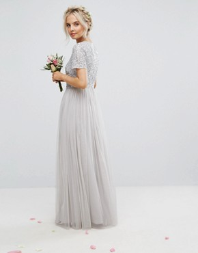 photo Plunge Neck Embellished Top Maxi Dress with Tulle Skirt by Maya Petite, color Grey - Image 2