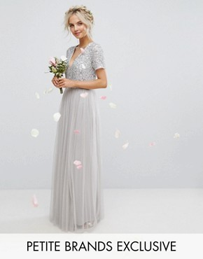 photo Plunge Neck Embellished Top Maxi Dress with Tulle Skirt by Maya Petite, color Grey - Image 1