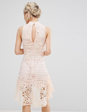 photo Allover High Neck Premium Lace Mini Dress by True Decadence Petite, color Soft Coral - Image 2