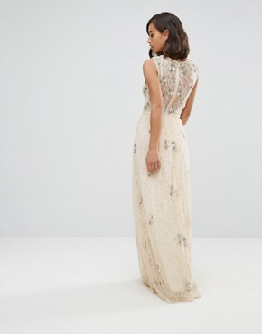 photo All Over Embellished Lace Maxi Dress by Maya Petite, color Nude - Image 2