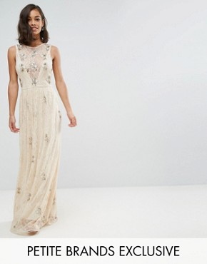 photo All Over Embellished Lace Maxi Dress by Maya Petite, color Nude - Image 1