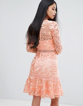 photo Allover Premium Lace Skater Dress with Fluted Hem by True Decadence Petite, color Peach - Image 2
