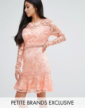 photo Allover Premium Lace Skater Dress with Fluted Hem by True Decadence Petite, color Peach - Image 1