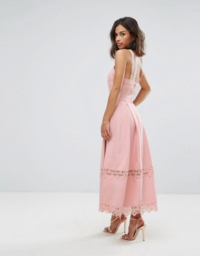 photo Frill High Neck Prom Skater Dress with Lace Contrsat Inserts by True Decadence Petite Premium, color Nude - Image 2