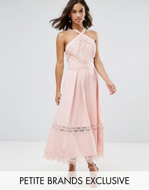 photo Frill High Neck Prom Skater Dress with Lace Contrsat Inserts by True Decadence Petite Premium, color Nude - Image 1