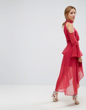 photo Cold Shoulder Wrap Front Midi Dress with Fluted Sleeve Detail by True Decadence Petite Premium, color Raspberry - Image 2