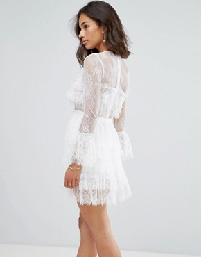 photo Lace Ruffle Mini Dress with Sheer Sleeve Detail by True Decadence Petite Premium, color White - Image 2