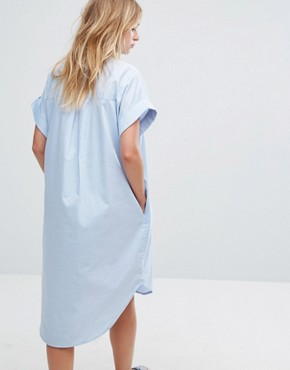 photo Chambray Shirt Dress by Monki, color Blue - Image 2