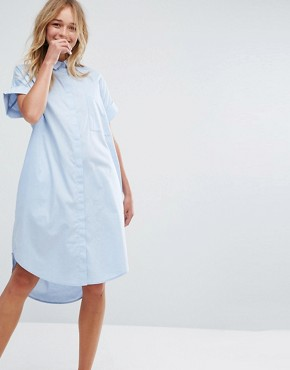 photo Chambray Shirt Dress by Monki, color Blue - Image 1