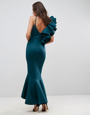 photo One Shoulder Ruffle Pephem Maxi Dress by ASOS PREMIUM, color Forest Green - Image 2
