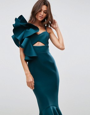 photo One Shoulder Ruffle Pephem Maxi Dress by ASOS PREMIUM, color Forest Green - Image 3