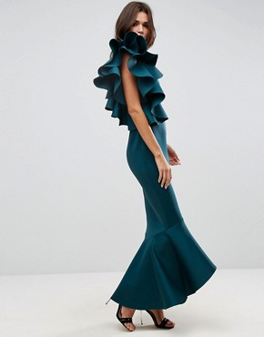 photo One Shoulder Ruffle Pephem Maxi Dress by ASOS PREMIUM, color Forest Green - Image 4