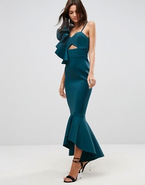 photo One Shoulder Ruffle Pephem Maxi Dress by ASOS PREMIUM, color Forest Green - Image 1