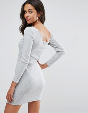 photo Asymmetric Shoulder Rib Bodycon Dress with Long Sleeves by ASOS, color Grey Marl - Image 2