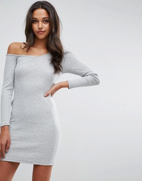 photo Asymmetric Shoulder Rib Bodycon Dress with Long Sleeves by ASOS, color Grey Marl - Image 1