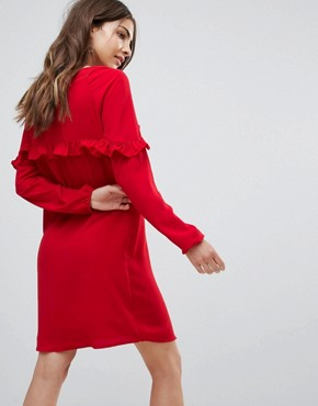 photo Alex Frill Shift Dress by Only, color Tango Red - Image 2