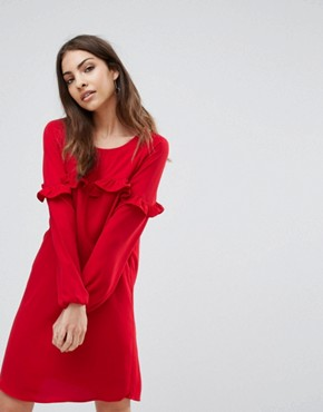 photo Alex Frill Shift Dress by Only, color Tango Red - Image 1