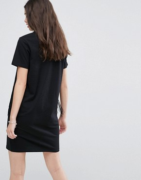 photo Mini T-Shirt Dress with Fringing by ASOS, color Black - Image 2