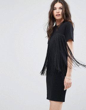 photo Mini T-Shirt Dress with Fringing by ASOS, color Black - Image 1