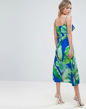 photo Palm Print Strappy Midi Dress with Thigh Split by Every Cloud, color Blue Palm Print - Image 2