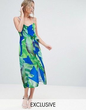 photo Palm Print Strappy Midi Dress with Thigh Split by Every Cloud, color Blue Palm Print - Image 1