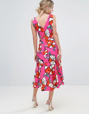 photo Floral Hi Low Hem Midi Dress by Every Cloud, color Fuchsia Floral Print - Image 2