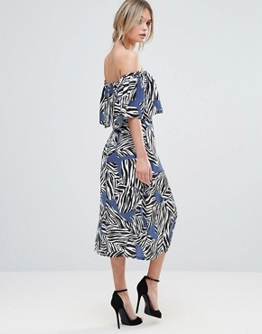 photo Mutli Zebra Bardot Midi Dress by Every Cloud, color Abstract Print - Image 2