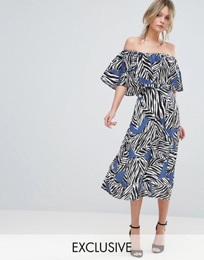 photo Mutli Zebra Bardot Midi Dress by Every Cloud, color Abstract Print - Image 1