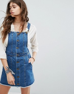 photo Heritage Denim Dungaree Dress by Gandys, color Blue - Image 1