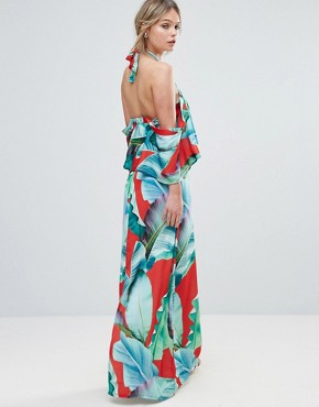 photo Palm Print Halterneck Maxi with Ruffle by Every Cloud, color Red Base Leaf Print - Image 2