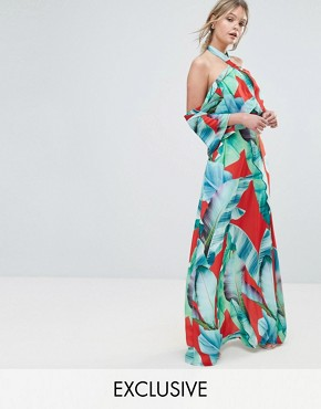 photo Palm Print Halterneck Maxi with Ruffle by Every Cloud, color Red Base Leaf Print - Image 1