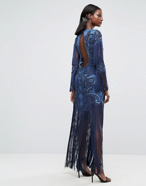 photo Embellished Embroidered Maxi Dress with Tassle Detail by A Star Is Born, color Steel Blue - Image 2