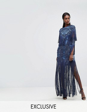 photo Embellished Embroidered Maxi Dress with Tassle Detail by A Star Is Born, color Steel Blue - Image 1