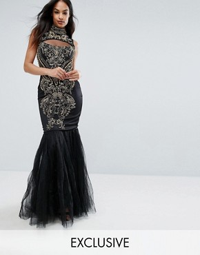 photo Embellished Fishtail Maxi Dress with High Neck by A Star Is Born, color Black/Gold - Image 1